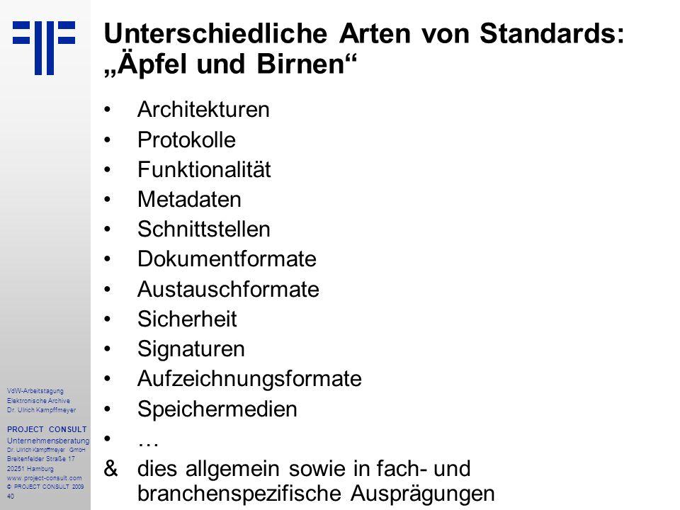 40 VdW-Arbeitstagung Elektronische Archive Dr. Ulrich Kampffmeyer PROJECT CONSULT Unternehmensberatung Dr. Ulrich Kampffmeyer GmbH Breitenfelder Straß