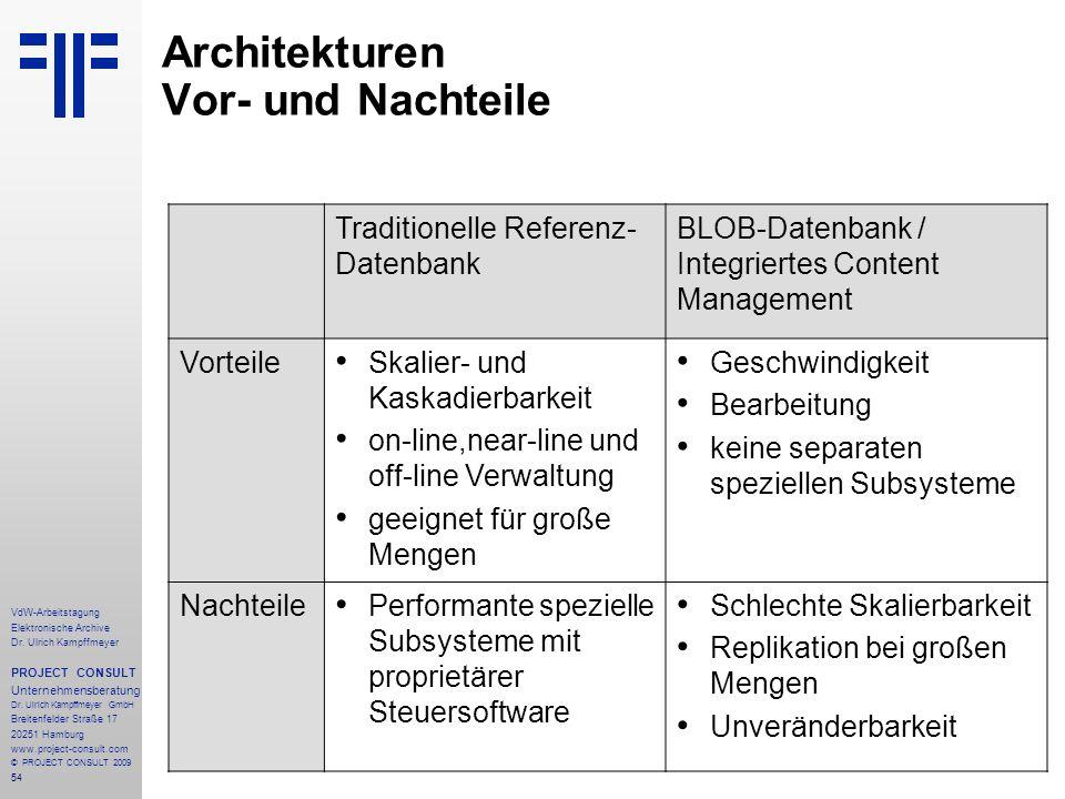 54 VdW-Arbeitstagung Elektronische Archive Dr. Ulrich Kampffmeyer PROJECT CONSULT Unternehmensberatung Dr. Ulrich Kampffmeyer GmbH Breitenfelder Straß