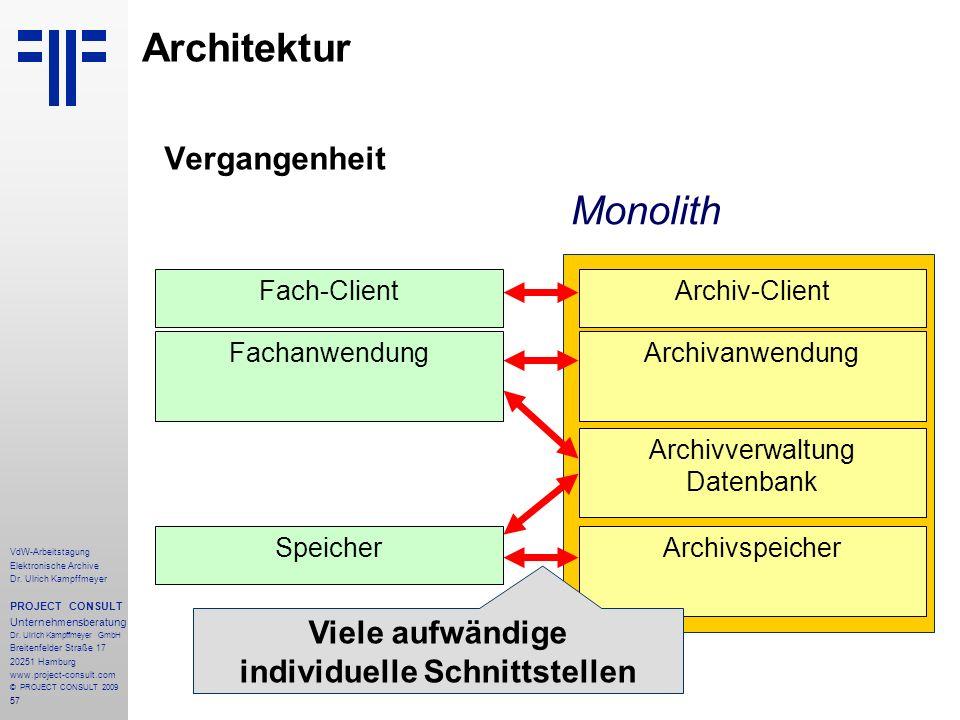 57 VdW-Arbeitstagung Elektronische Archive Dr. Ulrich Kampffmeyer PROJECT CONSULT Unternehmensberatung Dr. Ulrich Kampffmeyer GmbH Breitenfelder Straß