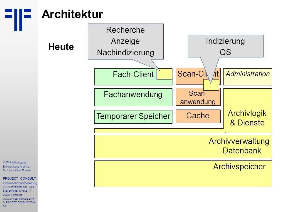 58 VdW-Arbeitstagung Elektronische Archive Dr. Ulrich Kampffmeyer PROJECT CONSULT Unternehmensberatung Dr. Ulrich Kampffmeyer GmbH Breitenfelder Straß