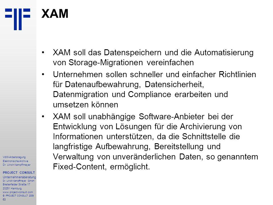 63 VdW-Arbeitstagung Elektronische Archive Dr. Ulrich Kampffmeyer PROJECT CONSULT Unternehmensberatung Dr. Ulrich Kampffmeyer GmbH Breitenfelder Straß