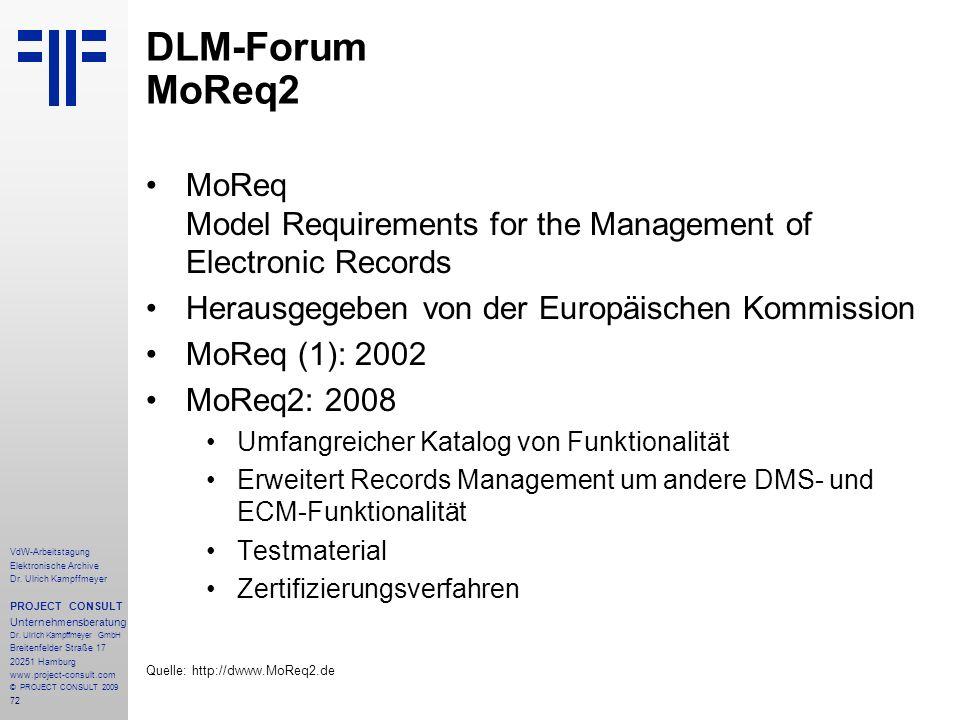 72 VdW-Arbeitstagung Elektronische Archive Dr. Ulrich Kampffmeyer PROJECT CONSULT Unternehmensberatung Dr. Ulrich Kampffmeyer GmbH Breitenfelder Straß