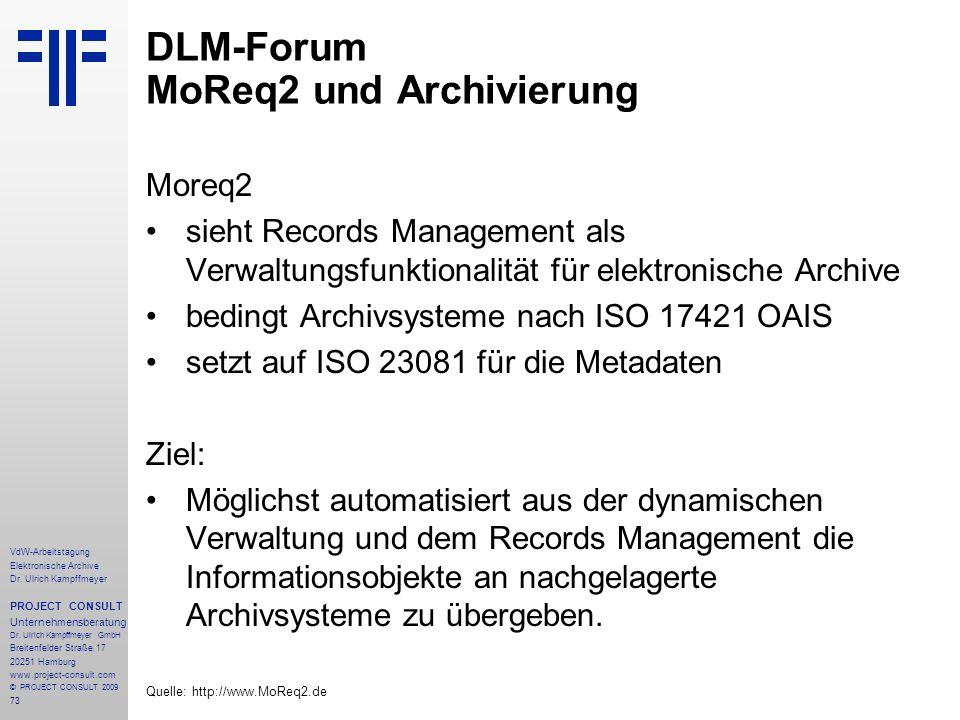 73 VdW-Arbeitstagung Elektronische Archive Dr. Ulrich Kampffmeyer PROJECT CONSULT Unternehmensberatung Dr. Ulrich Kampffmeyer GmbH Breitenfelder Straß