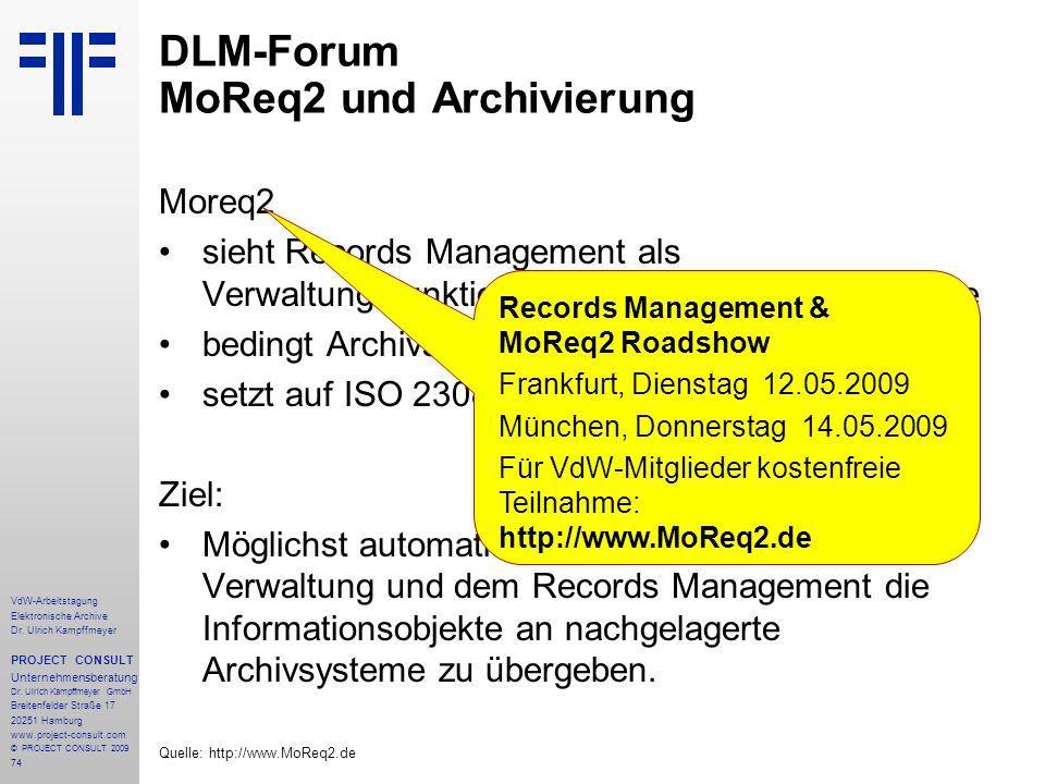 74 VdW-Arbeitstagung Elektronische Archive Dr. Ulrich Kampffmeyer PROJECT CONSULT Unternehmensberatung Dr. Ulrich Kampffmeyer GmbH Breitenfelder Straß