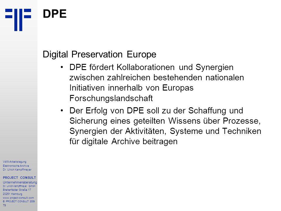 79 VdW-Arbeitstagung Elektronische Archive Dr. Ulrich Kampffmeyer PROJECT CONSULT Unternehmensberatung Dr. Ulrich Kampffmeyer GmbH Breitenfelder Straß