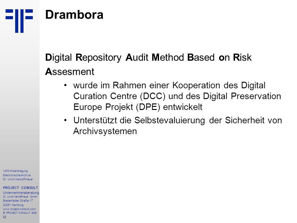 82 VdW-Arbeitstagung Elektronische Archive Dr. Ulrich Kampffmeyer PROJECT CONSULT Unternehmensberatung Dr. Ulrich Kampffmeyer GmbH Breitenfelder Straß