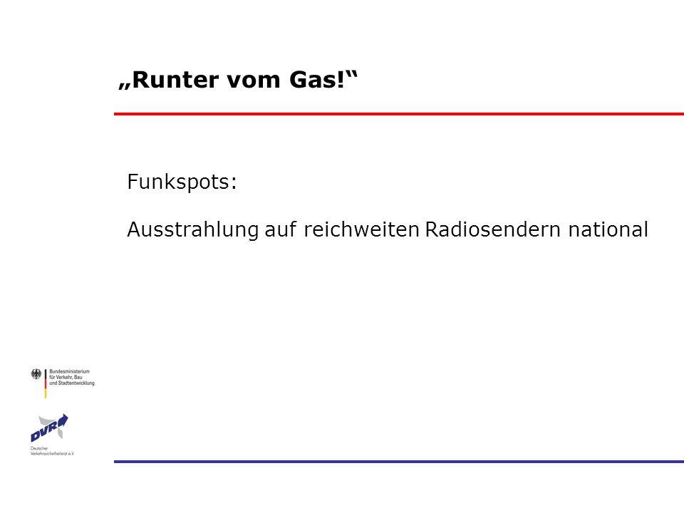 Runter vom Gas! Funkspots: Ausstrahlung auf reichweiten Radiosendern national