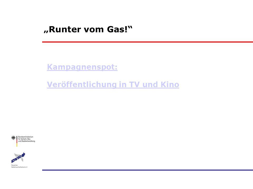 Runter vom Gas! Kampagnenspot: Veröffentlichung in TV und Kino