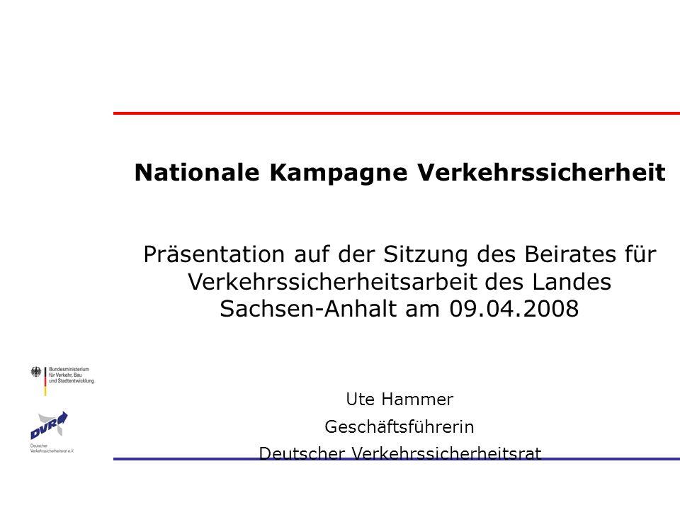 Nationale Kampagne Verkehrssicherheit Präsentation auf der Sitzung des Beirates für Verkehrssicherheitsarbeit des Landes Sachsen-Anhalt am 09.04.2008