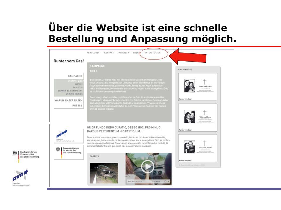 Über die Website ist eine schnelle Bestellung und Anpassung möglich.
