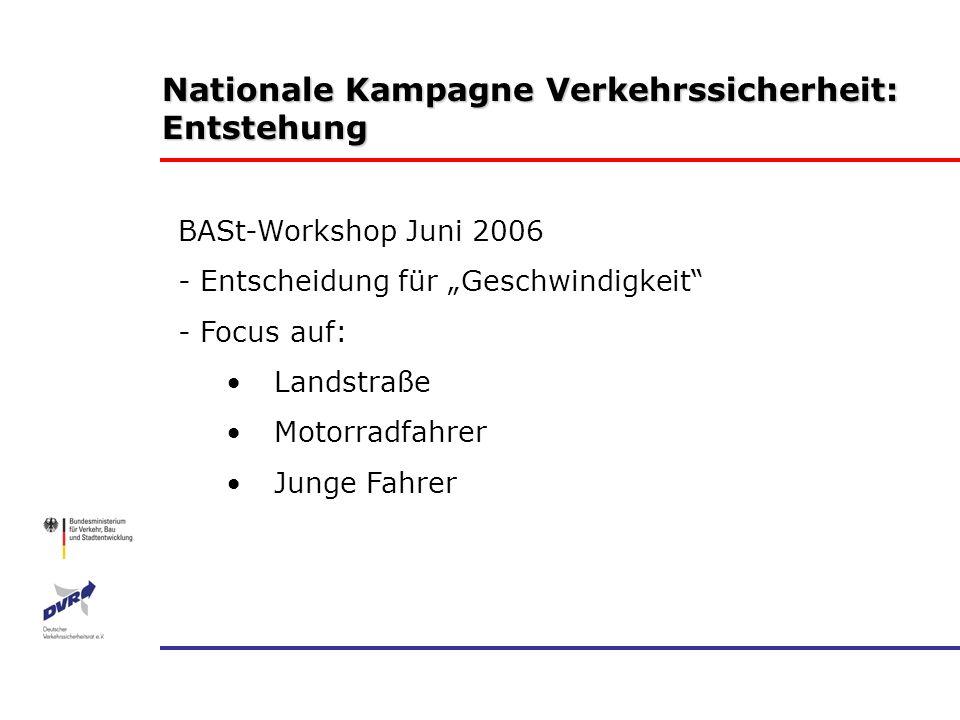 Nationale Kampagne Verkehrssicherheit: Entstehung BASt-Workshop Juni 2006 - Entscheidung für Geschwindigkeit - Focus auf: Landstraße Motorradfahrer Ju