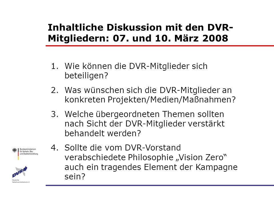1.Wie können die DVR-Mitglieder sich beteiligen? 2.Was wünschen sich die DVR-Mitglieder an konkreten Projekten/Medien/Maßnahmen? 3.Welche übergeordnet