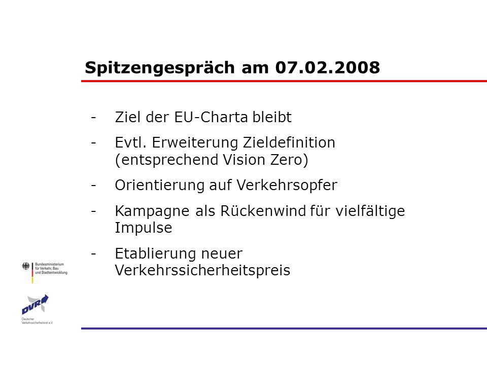 -Ziel der EU-Charta bleibt -Evtl. Erweiterung Zieldefinition (entsprechend Vision Zero) -Orientierung auf Verkehrsopfer -Kampagne als Rückenwind für v