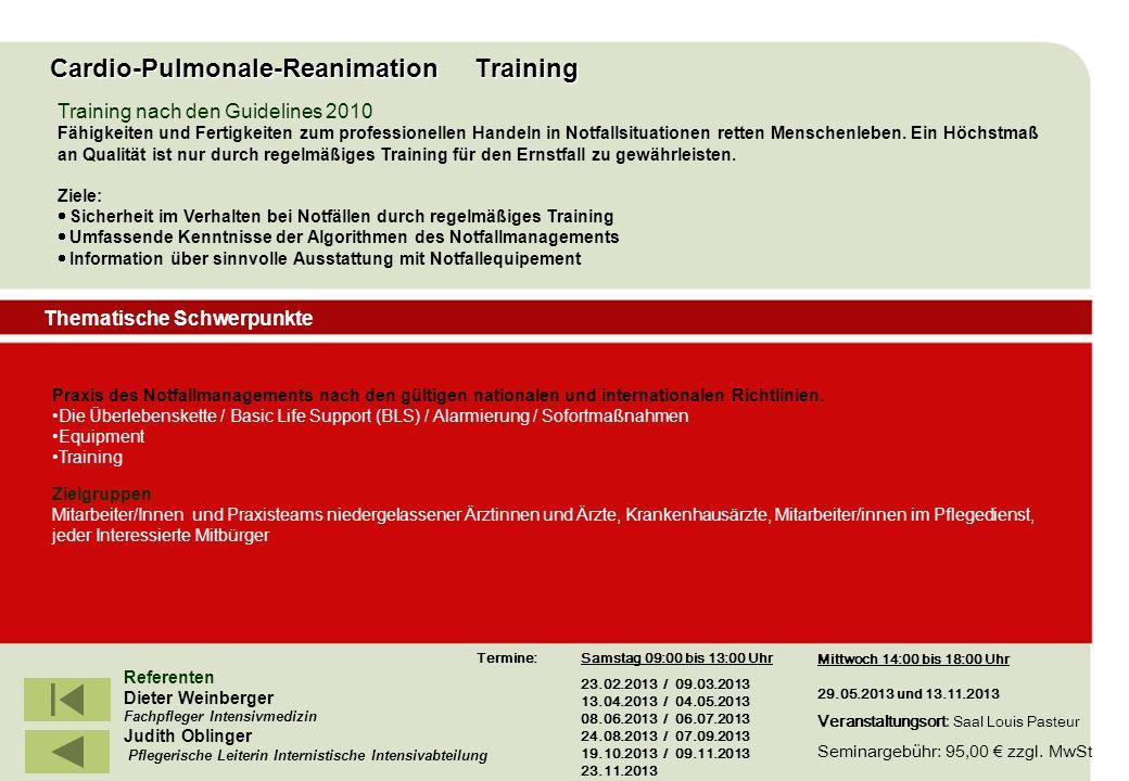 IBF Seminare 2008 Referenten Dieter Weinberger Fachpfleger Intensivmedizin Judith Oblinger Pflegerische Leiterin Internistische Intensivabteilung Trai