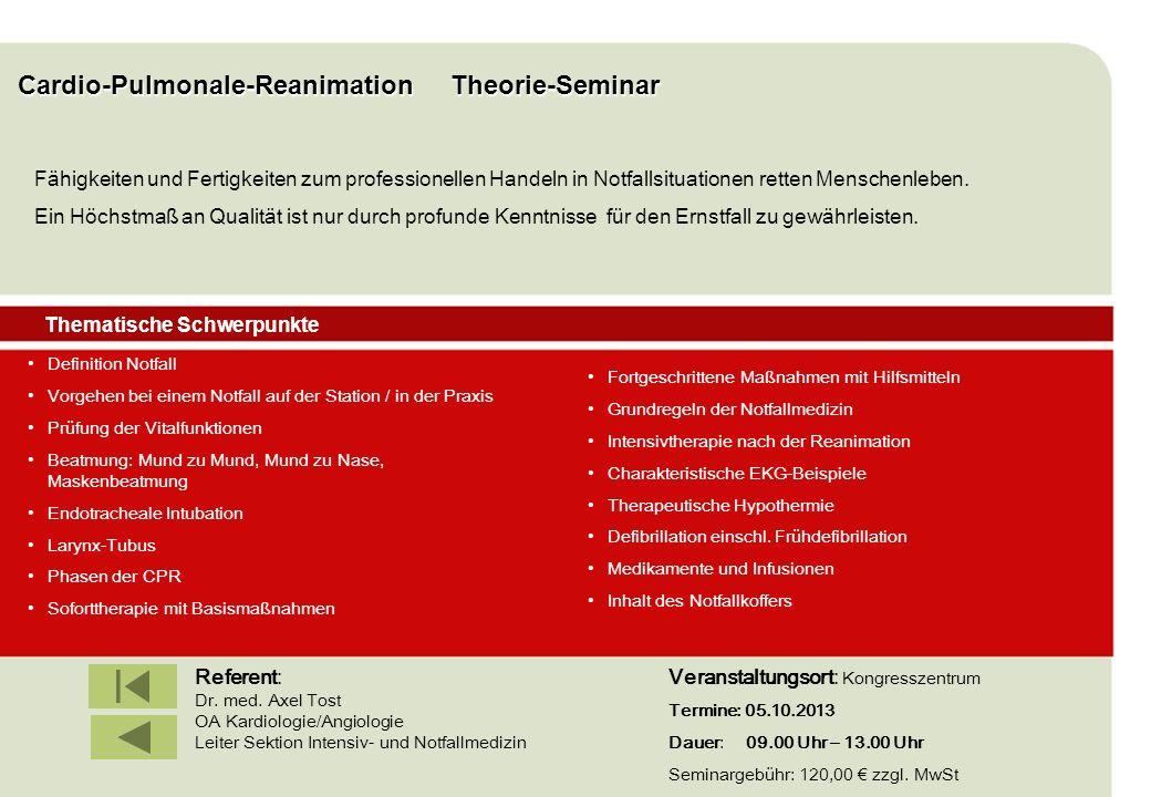 IBF Seminare 2008 Cardio-Pulmonale-Reanimation Theorie-Seminar Definition Notfall Vorgehen bei einem Notfall auf der Station / in der Praxis Prüfung d