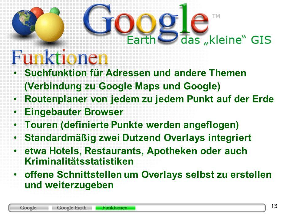 13 Suchfunktion für Adressen und andere Themen (Verbindung zu Google Maps und Google) Routenplaner von jedem zu jedem Punkt auf der Erde Eingebauter B