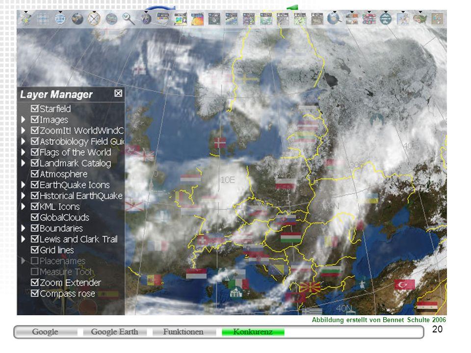 20 NASA World Wind (http://worldwind.arc.nasa.gov) Clientbasierter Dienst 4.7 Terabyte Datensatz Daten von verschiedenen Satelliten und Jahreszeiten a