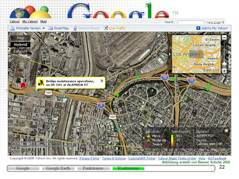 22 Yahoo Maps (http://maps.yahoo.com) Browserbasierter Dienst Beta-Version Satellitenfotos zumindest in den USA hochauflösend Live Verkehr Idee mit Üb