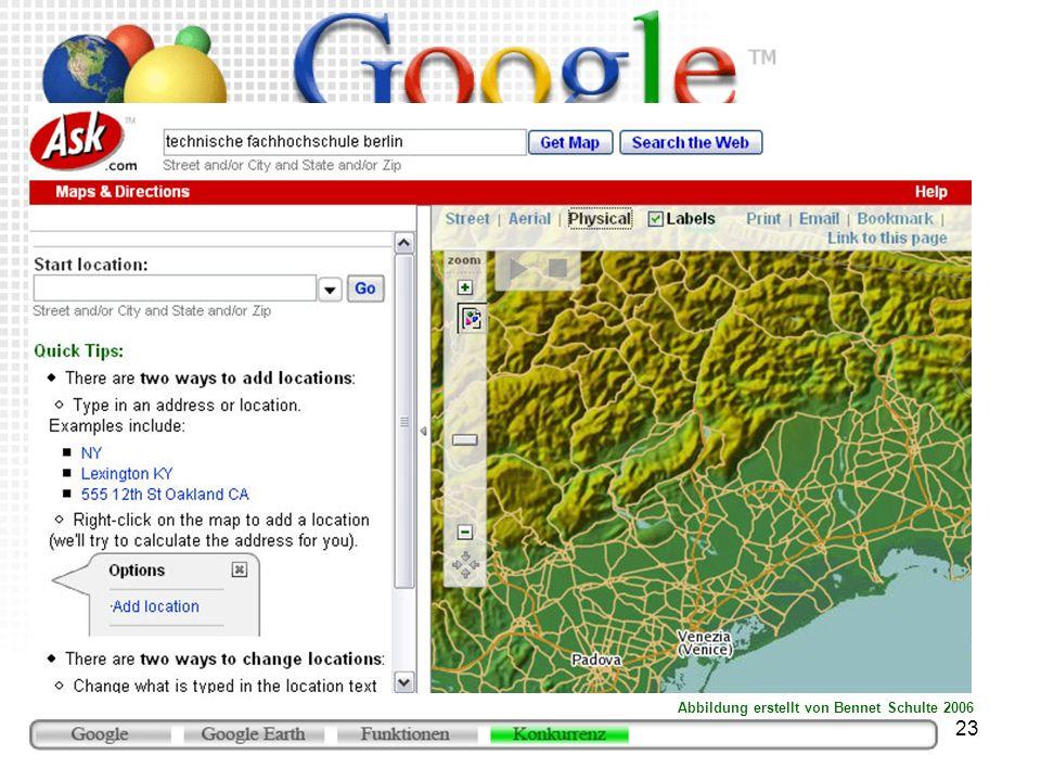 23 ASK Map (http://maps.ask.com) mit physischer Karte ungewöhnlicher Kartenduktus Abbildung erstellt von Bennet Schulte 2006