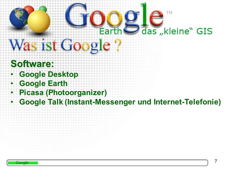 18 Google Local/Maps Google Local/Maps (http://maps.google.com) Browserbasiertes GE aber zensiert mehr Suchergebnisse auf deutsch Abbildung erstellt von Bennet Schulte 2006
