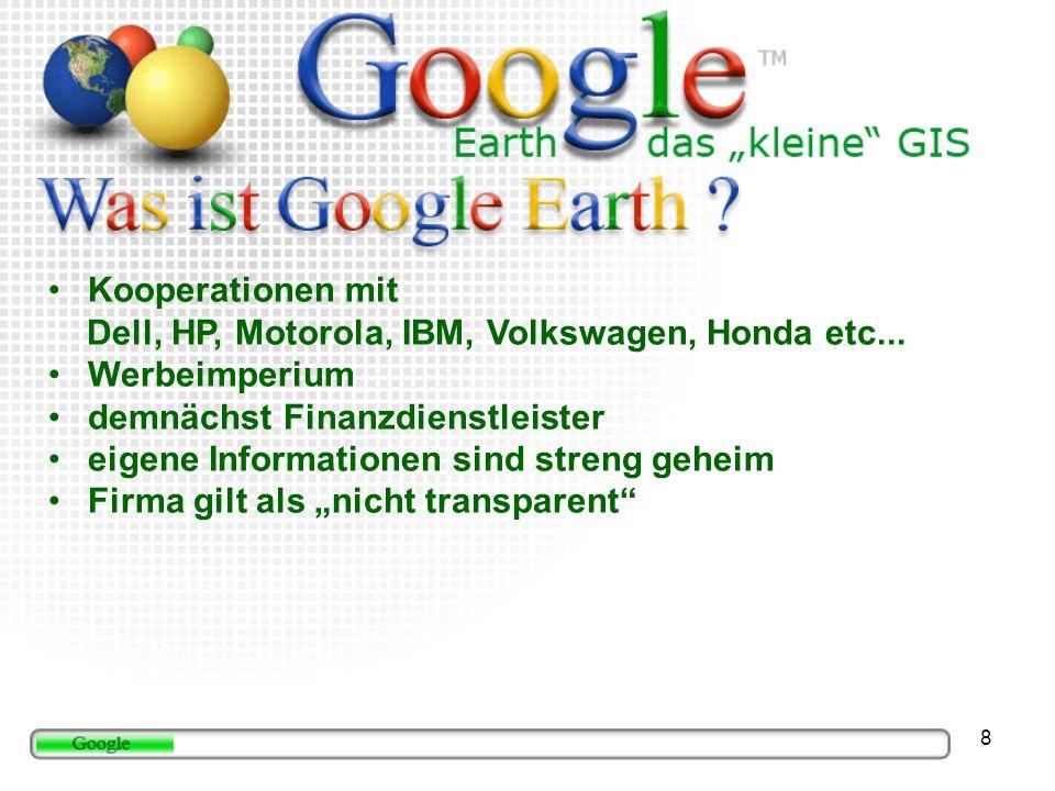 19 Google Maps Mobile (http://www.google.com/gmm/index.html) Clientbasierter Dienst Internetverbindung über Handy Wegbeschreibungen, Karten und Satellitenbilder Detaillierte Wegbeschreibungen, zu Fuß oder Auto Schritt für Schritt Wegbeschreibung Unternehmensstandorte und Kontaktinformationen werden auf der Karte angezeigt Abbildung: Google 2006