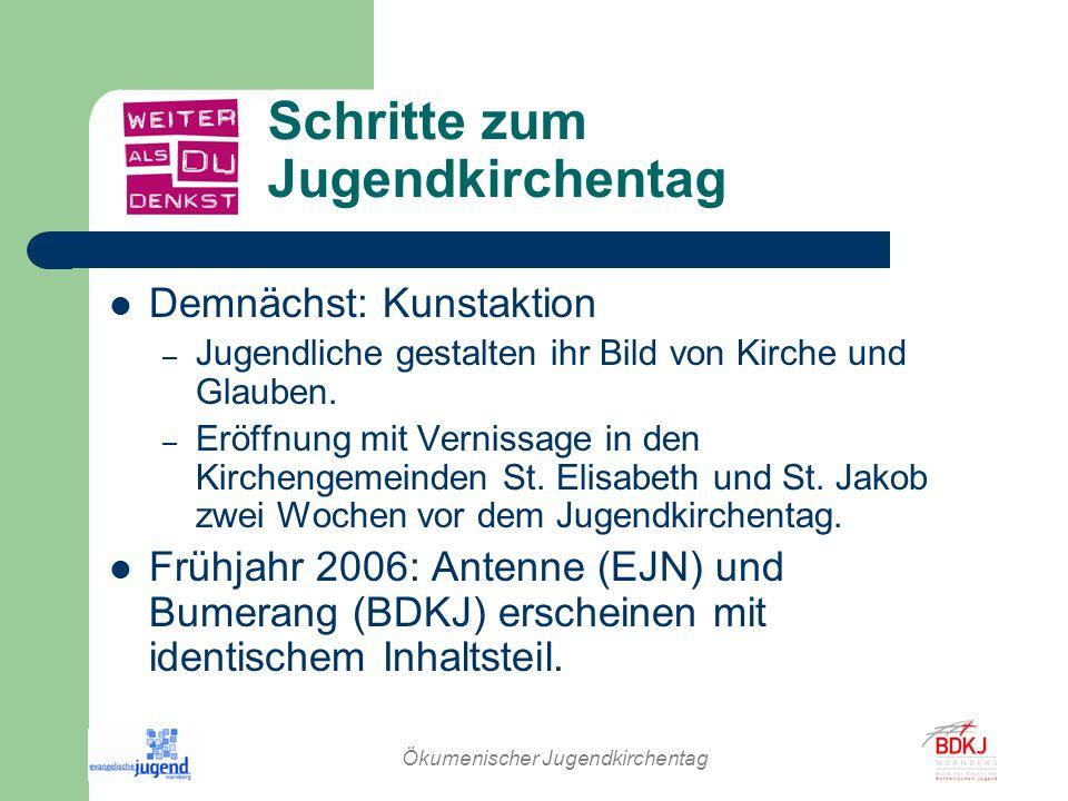 Ökumenischer Jugendkirchentag Schritte zum Jugendkirchentag Demnächst: Kunstaktion – Jugendliche gestalten ihr Bild von Kirche und Glauben. – Eröffnun