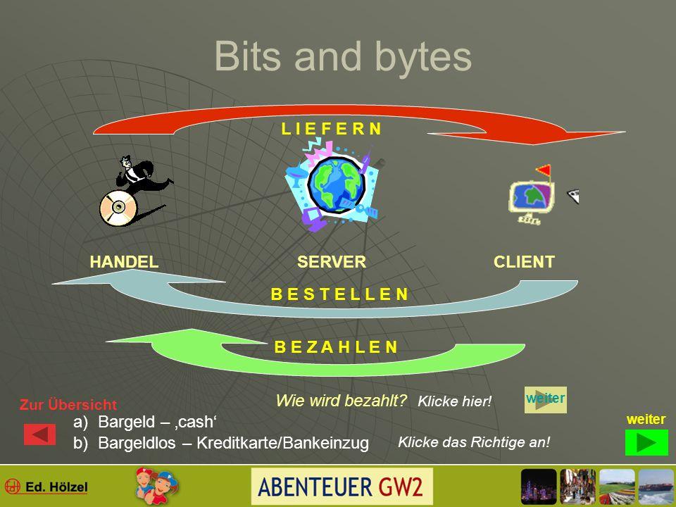 Bits and bytes SERVER Ein Server (Anbieter) bietet dir als Client (Kunde) Programme bzw. deren Nutzung an. CLIENTHANDEL Was haben Handel und Server ge