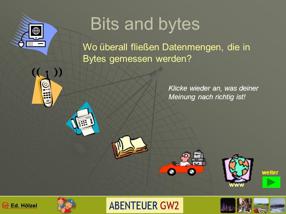 Bits and bytes Bits und Bytes sind Begriffe, die mit …. ja womit zu tun haben? Klicke an, was du für richtig hältst! Zur Begriffsklärung weiter