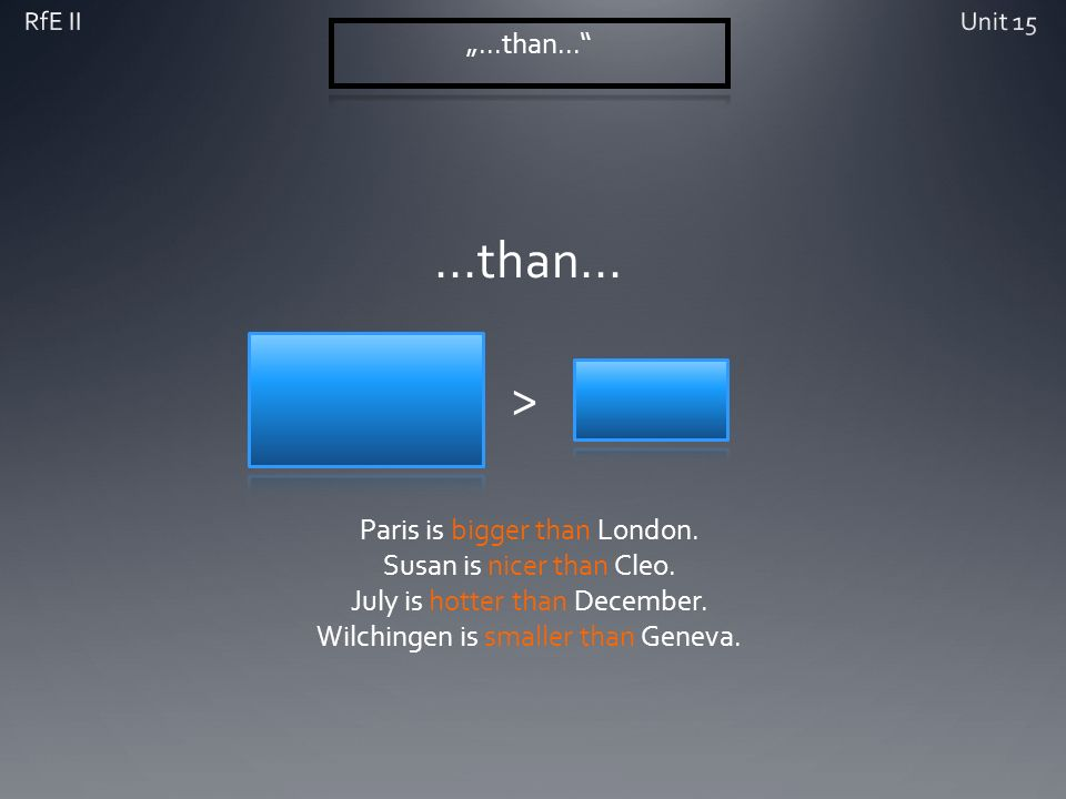 > Paris is bigger than London. Susan is nicer than Cleo. July is hotter than December. Wilchingen is smaller than Geneva.