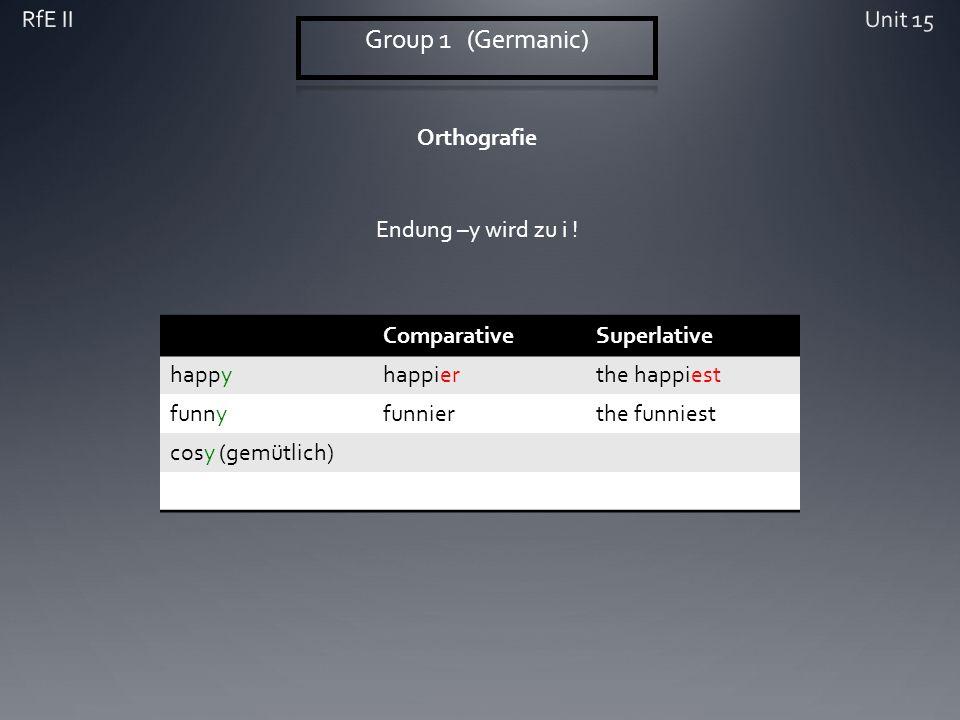 Orthografie ComparativeSuperlative happyhappierthe happiest funnyfunnierthe funniest cosy (gemütlich) Endung –y wird zu i !