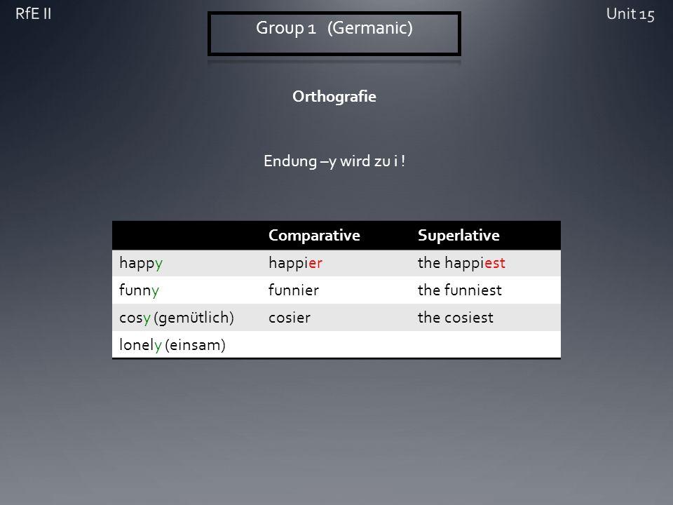 Orthografie ComparativeSuperlative happyhappierthe happiest funnyfunnierthe funniest cosy (gemütlich)cosierthe cosiest lonely (einsam) Endung –y wird zu i !