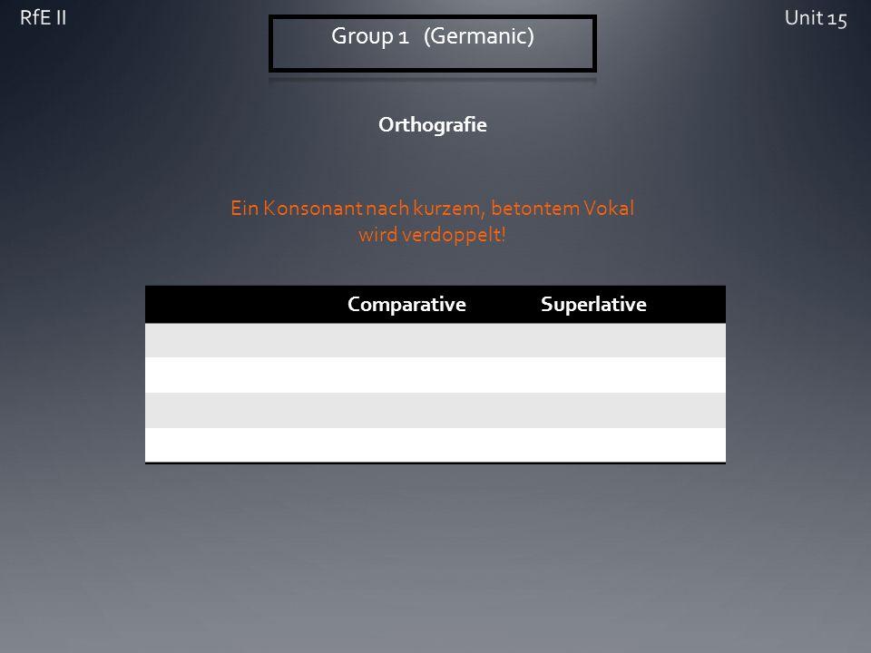 Orthografie ComparativeSuperlative Ein Konsonant nach kurzem, betontem Vokal wird verdoppelt!