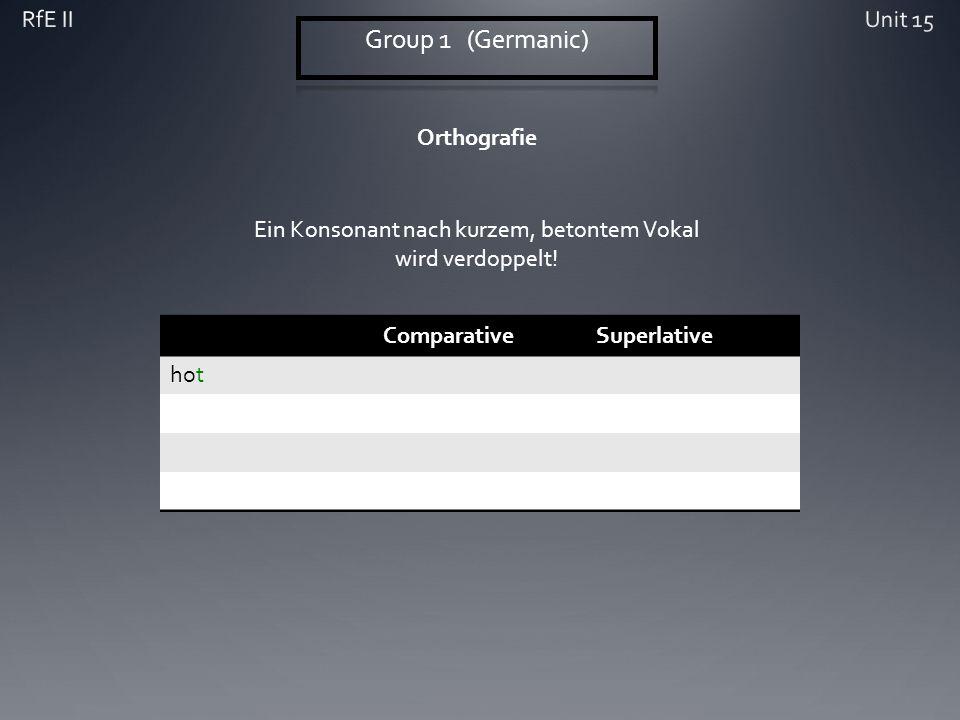 Orthografie ComparativeSuperlative hot Ein Konsonant nach kurzem, betontem Vokal wird verdoppelt!