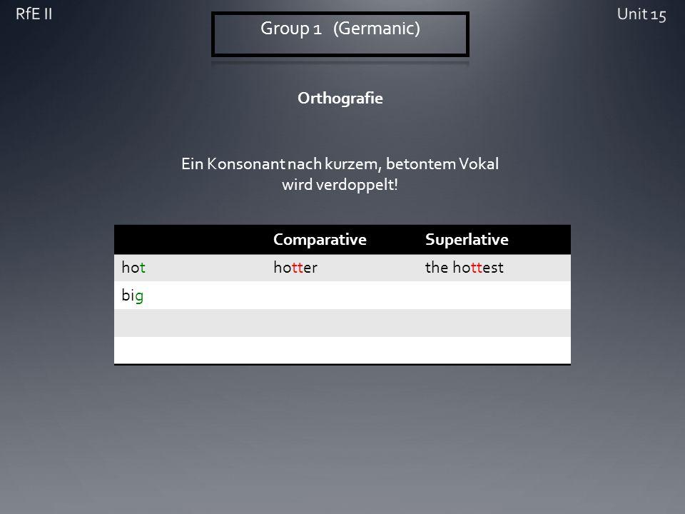 Orthografie ComparativeSuperlative hothotterthe hottest big Ein Konsonant nach kurzem, betontem Vokal wird verdoppelt!
