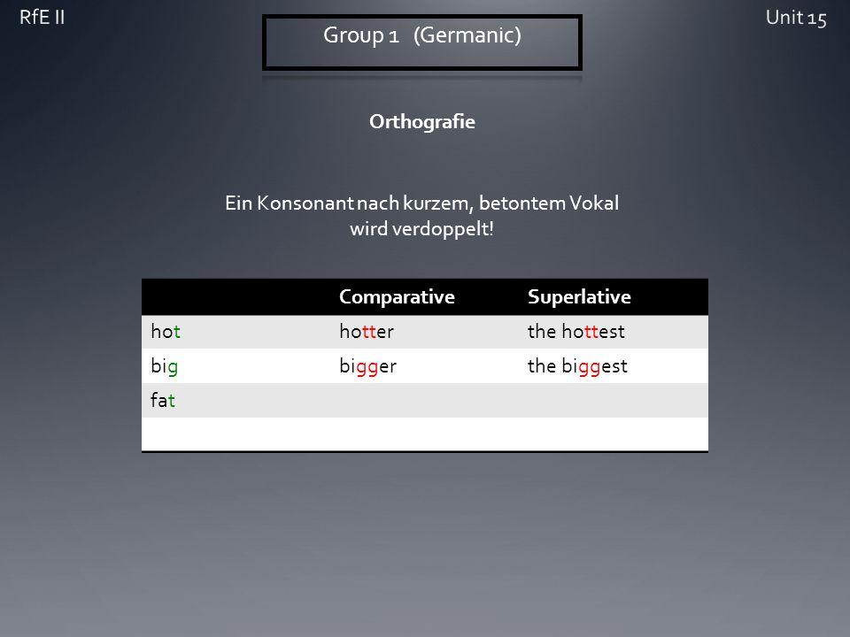 Orthografie ComparativeSuperlative hothotterthe hottest bigbiggerthe biggest fat Ein Konsonant nach kurzem, betontem Vokal wird verdoppelt!