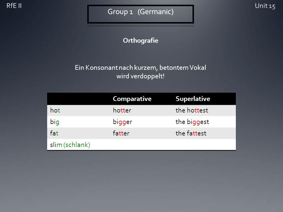 Orthografie ComparativeSuperlative hothotterthe hottest bigbiggerthe biggest fatfatterthe fattest slim (schlank) Ein Konsonant nach kurzem, betontem Vokal wird verdoppelt!