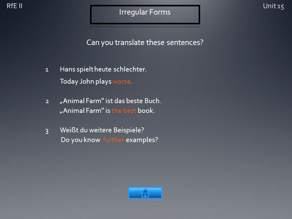 Can you translate these sentences? 1Hans spielt heute schlechter. Today John plays worse. 2Animal Farm ist das beste Buch. Animal Farm is the best boo