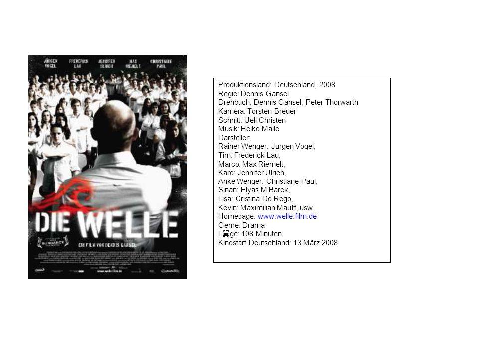 Produktionsland: Deutschland, 2008 Regie: Dennis Gansel Drehbuch: Dennis Gansel, Peter Thorwarth Kamera: Torsten Breuer Schnitt: Ueli Christen Musik: