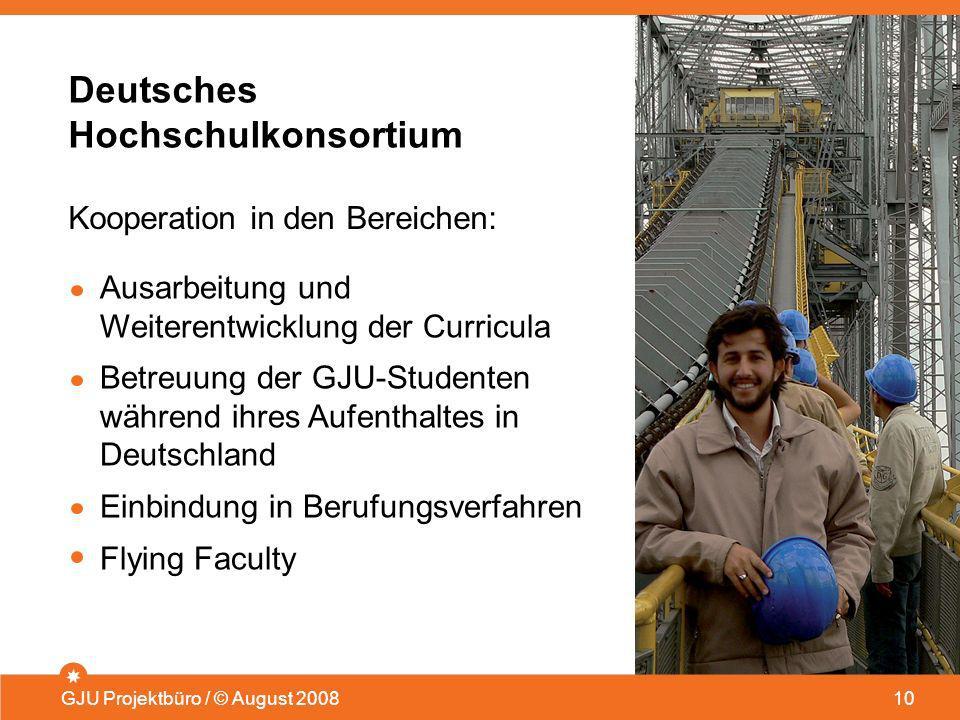 Deutsches Hochschulkonsortium GJU Projektbüro / © August 200810 Ausarbeitung und Weiterentwicklung der Curricula Betreuung der GJU-Studenten während i
