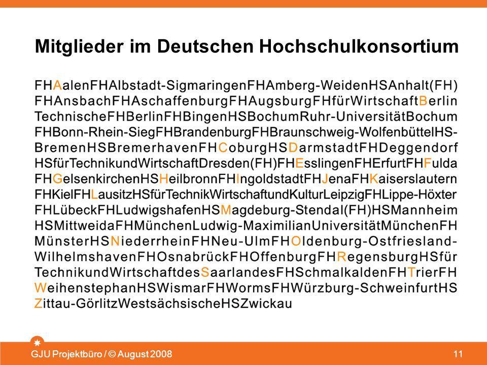 Mitglieder im Deutschen Hochschulkonsortium GJU Projektbüro / © August 200811
