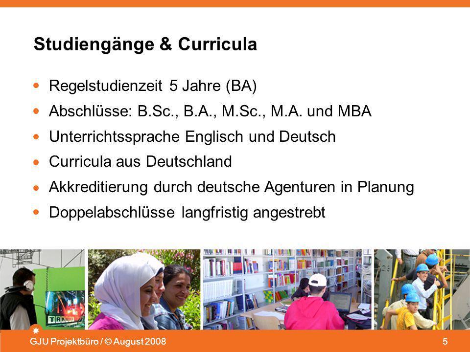 Studiengänge & Curricula GJU Projektbüro / © August 20085 Regelstudienzeit 5 Jahre (BA) Abschlüsse: B.Sc., B.A., M.Sc., M.A. und MBA Unterrichtssprach