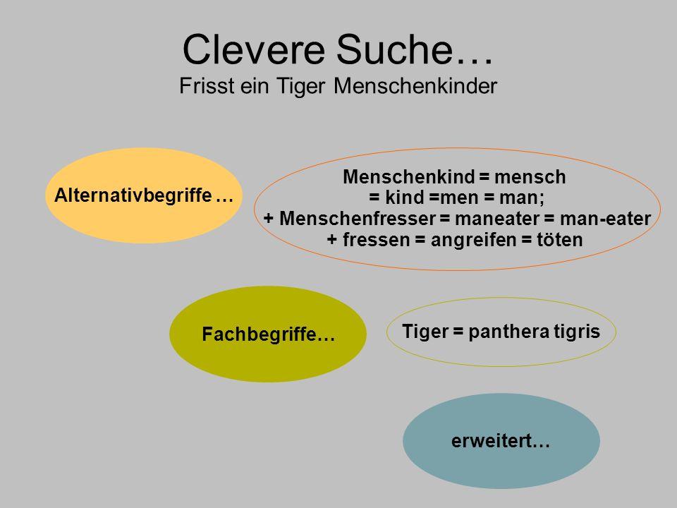 Clevere Suche… Frisst ein Tiger Menschenkinder Alternativbegriffe … Fachbegriffe… erweitert… Menschenkind = mensch = kind =men = man; + Menschenfresser = maneater = man-eater + fressen = angreifen = töten Tiger = panthera tigris