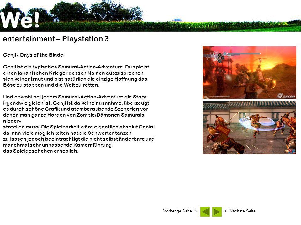 entertainment – Playstation 3 Genji - Days of the Blade Genji ist ein typisches Samurai-Action-Adventure. Du spielst einen japanischen Krieger dessen