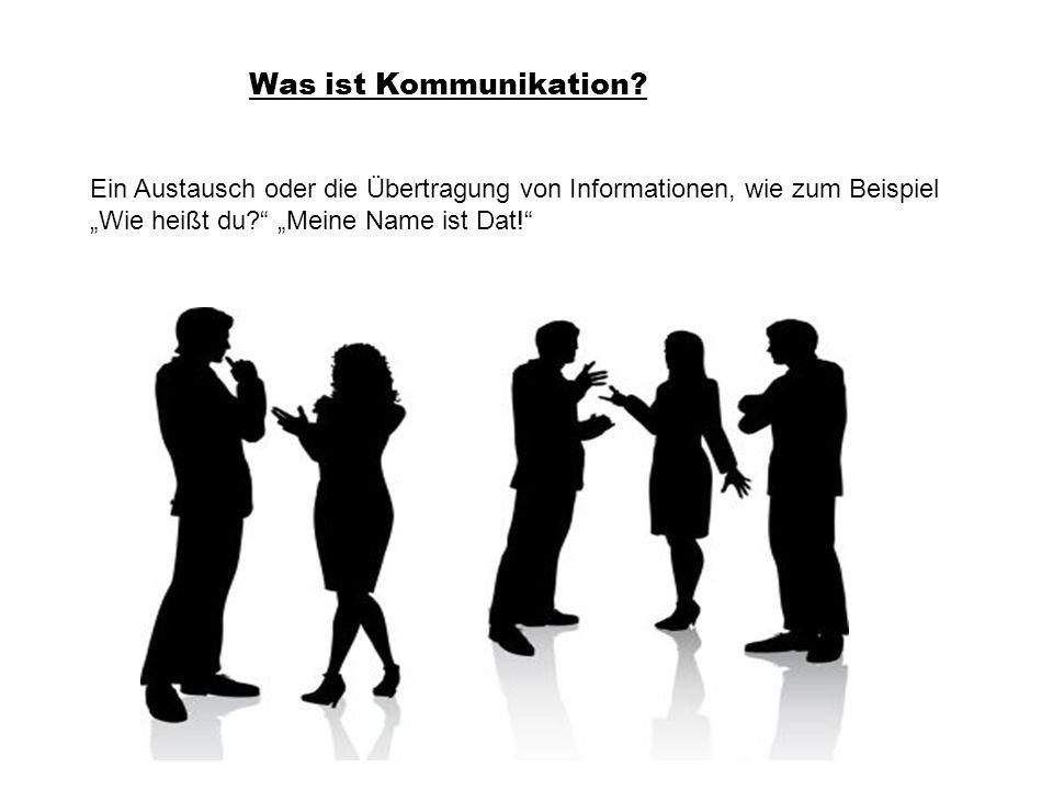 Was ist Kommunikation? Ein Austausch oder die Übertragung von Informationen, wie zum Beispiel Wie heißt du? Meine Name ist Dat!