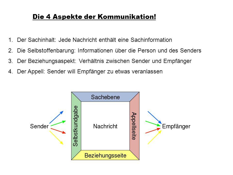 Die 4 Aspekte der Kommunikation! 1.Der Sachinhalt: Jede Nachricht enthält eine Sachinformation 2.Die Selbstoffenbarung: Informationen über die Person
