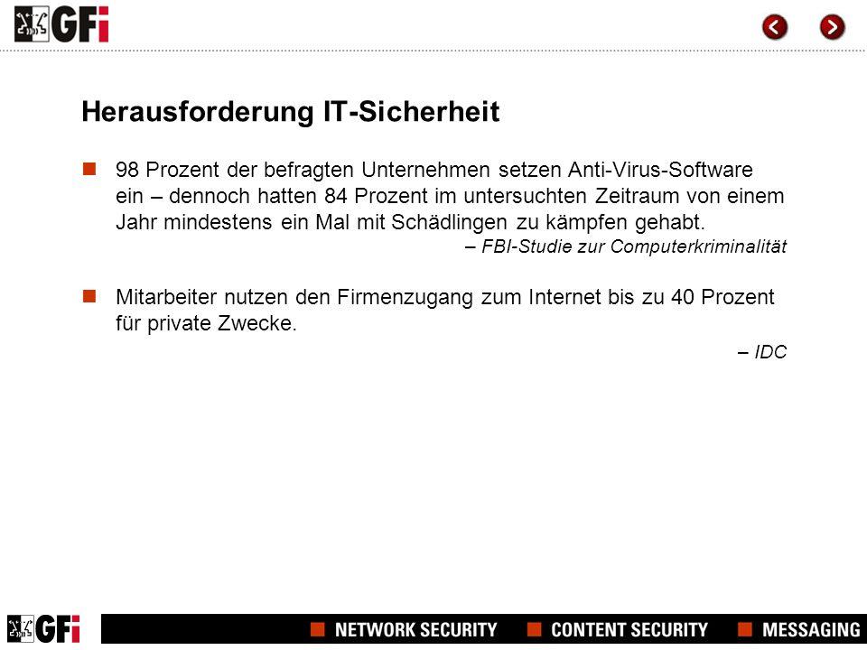 Echtzeit-Überwachung von HTTP/FTP-Verbindungen mit Virenschutz und Zugriffskontrolle – einfach und kostengünstig Verfügbar in 3 Editionen für eine flexible Auswahl der passenden Lösung zur Web-Überwachung: >WebFilter Edition: bietet Zugriffskontrolle für Websites >WebSecurity Edition: schützt Netzwerke vor Viren, Spyware, Malware und Phishing-Angriffen >UnifiedProtection Edition: vereint die WebFilter Edition und WebSecurity Edition in einem Paket zur Rundum-Überwachung des Web-Zugangs