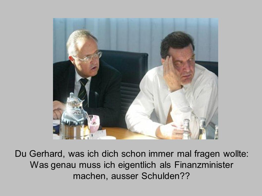 Du Gerhard, was ich dich schon immer mal fragen wollte: Was genau muss ich eigentlich als Finanzminister machen, ausser Schulden??