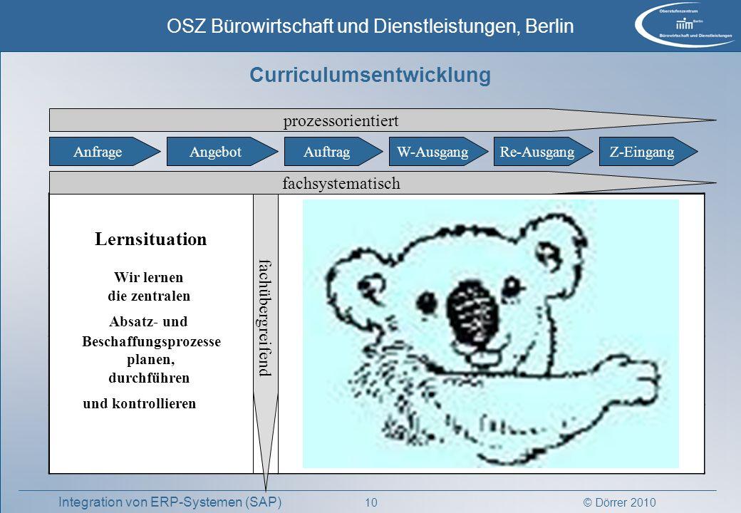 © Dörrer 2010 OSZ Bürowirtschaft und Dienstleistungen, Berlin 10 Integration von ERP-Systemen (SAP) Curriculumsentwicklung AnfrageAngebotAuftragW-Ausg