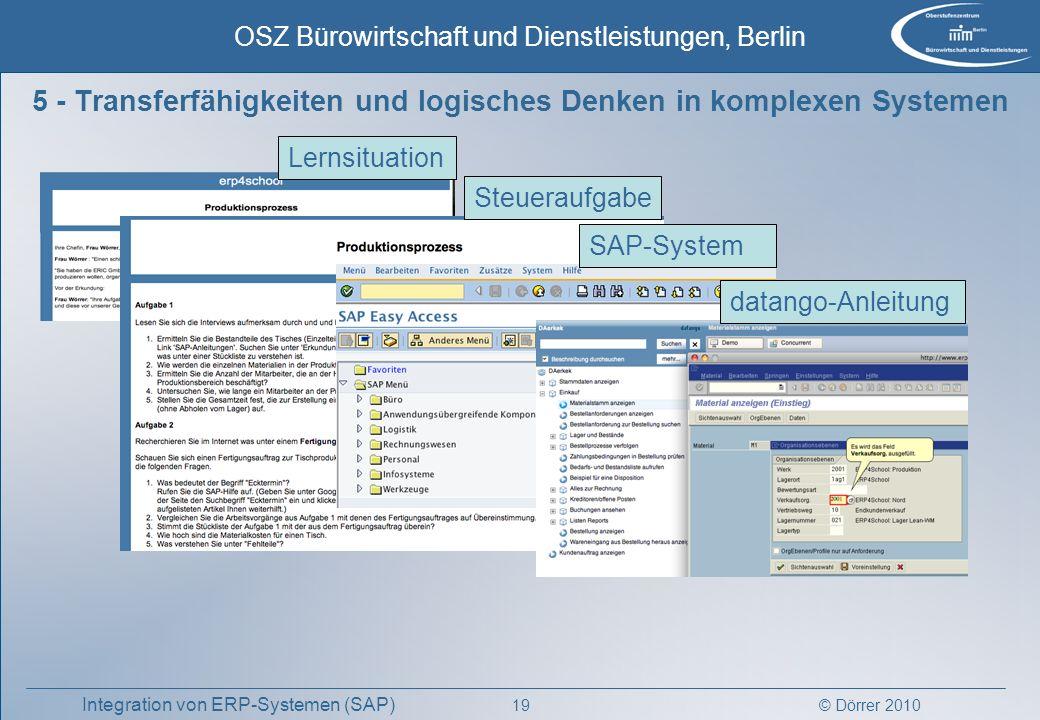 © Dörrer 2010 OSZ Bürowirtschaft und Dienstleistungen, Berlin 19 Integration von ERP-Systemen (SAP) 5 - Transferfähigkeiten und logisches Denken in ko