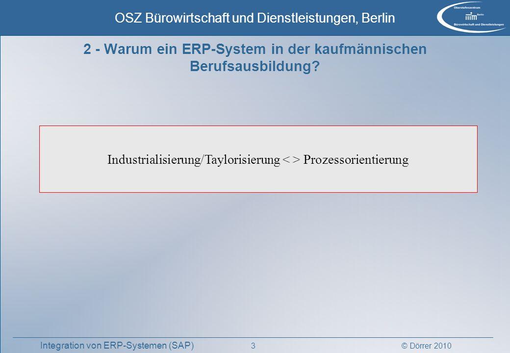 © Dörrer 2010 OSZ Bürowirtschaft und Dienstleistungen, Berlin 3 Integration von ERP-Systemen (SAP) 2 - Warum ein ERP-System in der kaufmännischen Beru